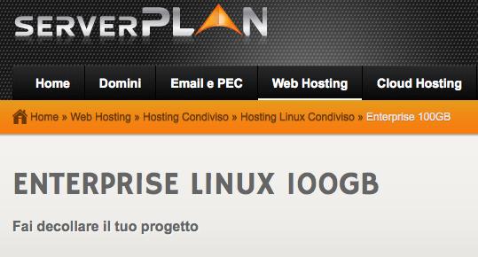Dettagli offerta: ServerPlan Enterprise Linux 100GB (EasyApp, sottodomini illimitati, HTTPS free incluso)