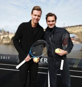 Roger Federer and Tomas Berdych at the unveiling of the Laver Cup