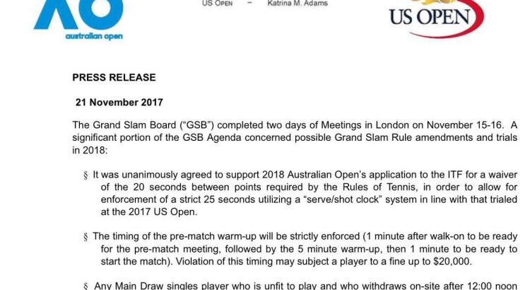 Press Release by the Grand Slam Board regarding 2018 rule amendments and trials
