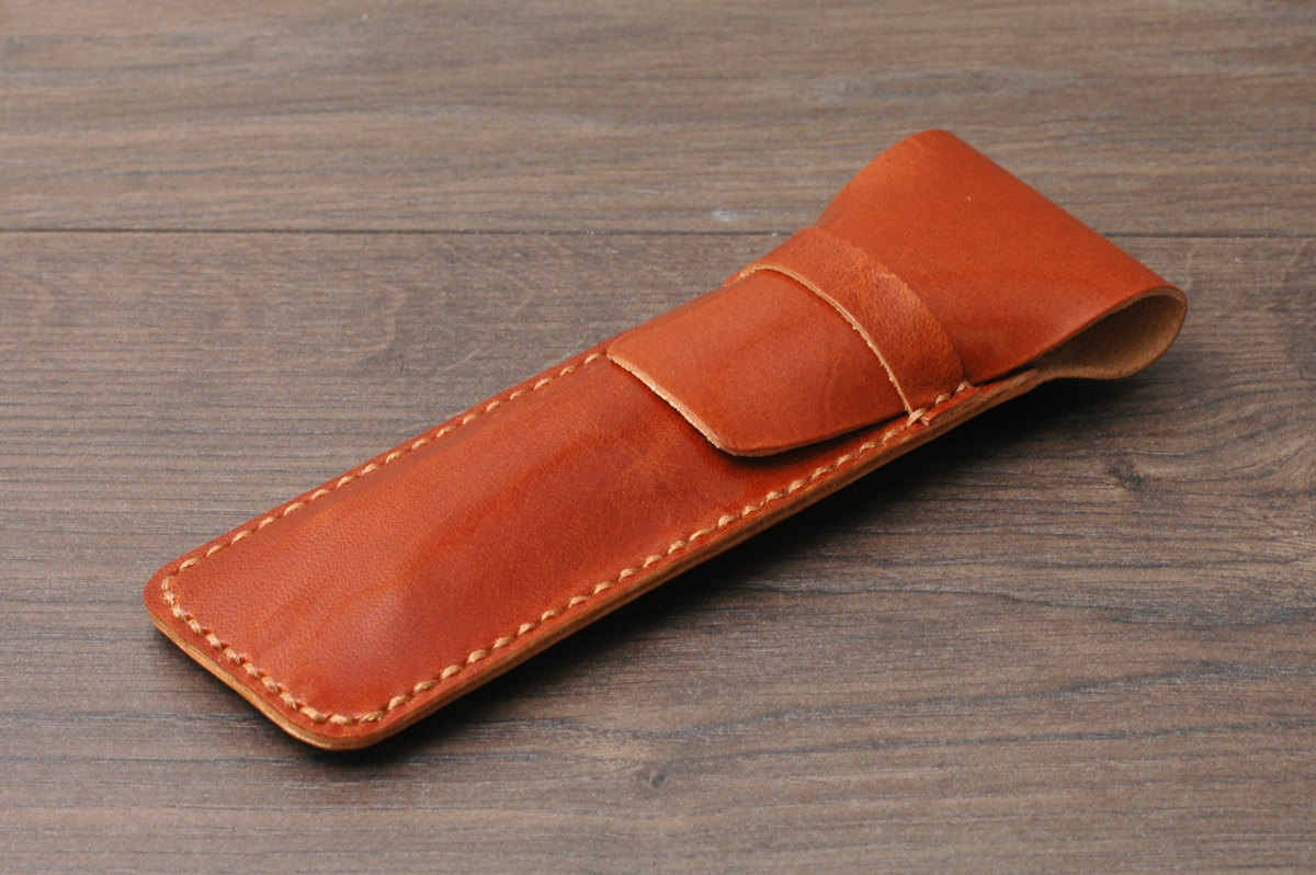 handmade leather pen case
