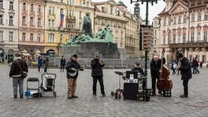 Jazz Men in the old town square, Prague Czech Republic