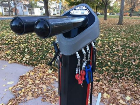 How great is this? Bike tools at the bus stop!