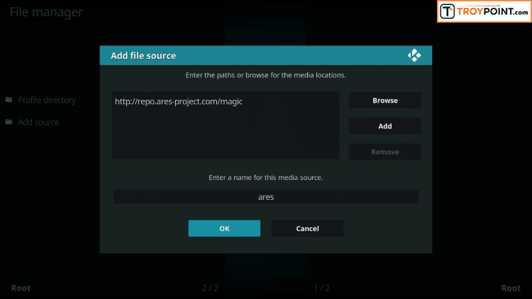 Click OK to add new file source within Kodi