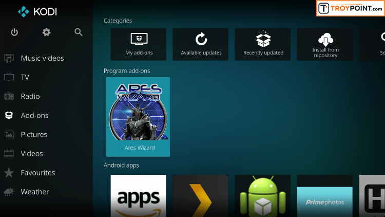 Exit to Kodi home screen