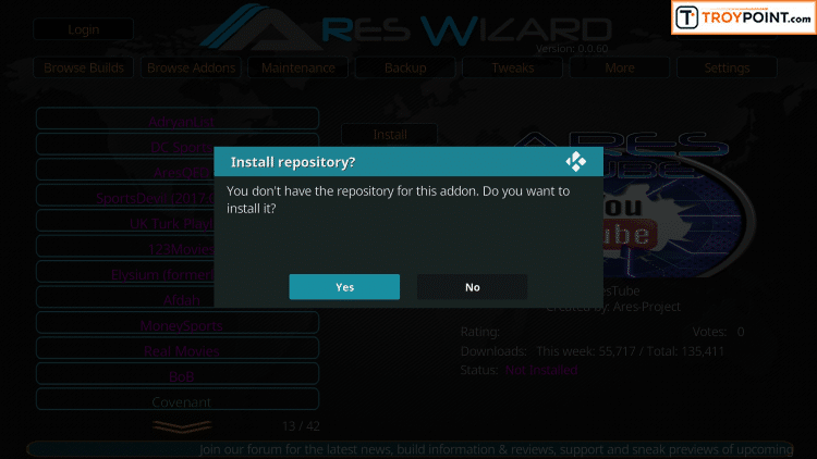 Click Yes to install Covenant repository