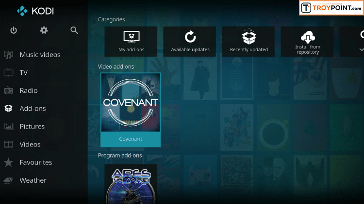Launch Covenant Kodi Addon