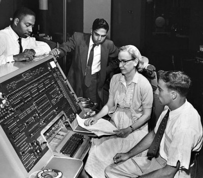 Grace Murray Hopper at the UNIVAC keyboard, c. 1960