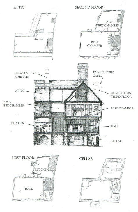 scan of floor plan of the Paul Revere House