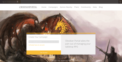 ObsidianPortal.com screenshot