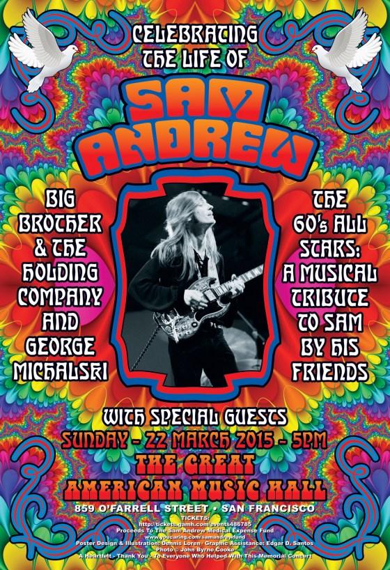 Sam Andrew March 22, 2015 Memorial rock poster by Dennis Loren