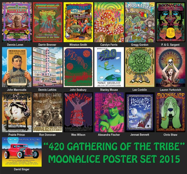 Moonalice 420 Gathering of the Tribe poster set 2015