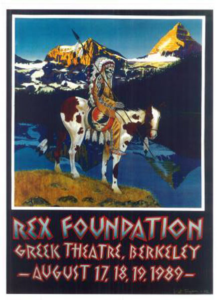 Rex Foundation, Greek Theatre, Berkeley, CA August 17, 18, 19, 1989 art by Pat Ryan