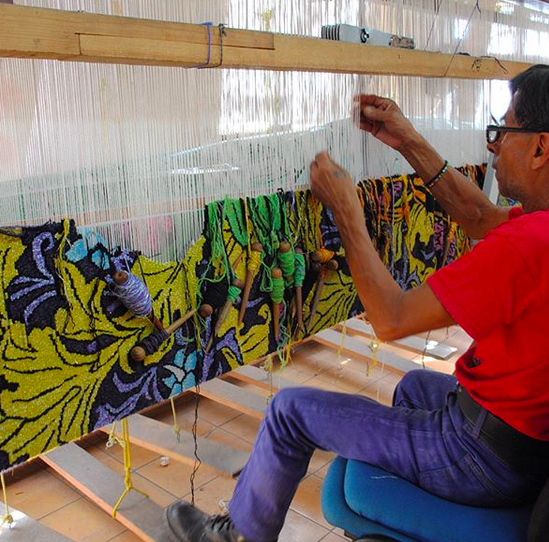 Tapestry in process at Taller Mexicano de Gobelinos. Photo by Shaun Roberts.
