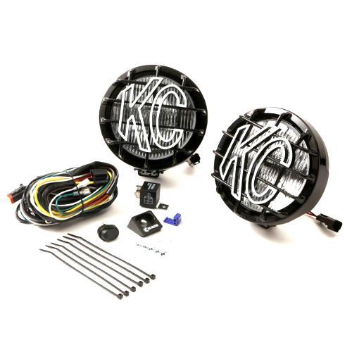 KC HiLites 124 6-Inch SlimLite Black 100W Spread Beam Pair