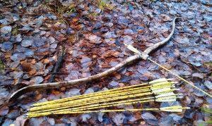 Фото: Современное лучное со стрелами лежит на земле