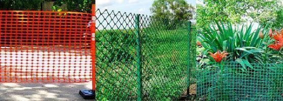 Фото – ограждения на участке из остатков пластиковых труб и сетки