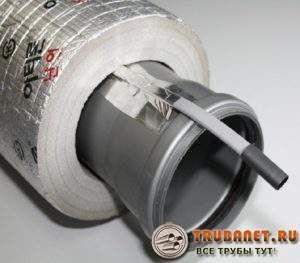 Фото – теплоизолятор для труб плюс греющий кабель