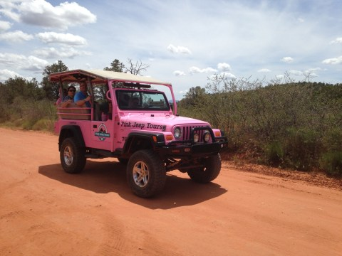 Pink Jeep on Loy Butte Road