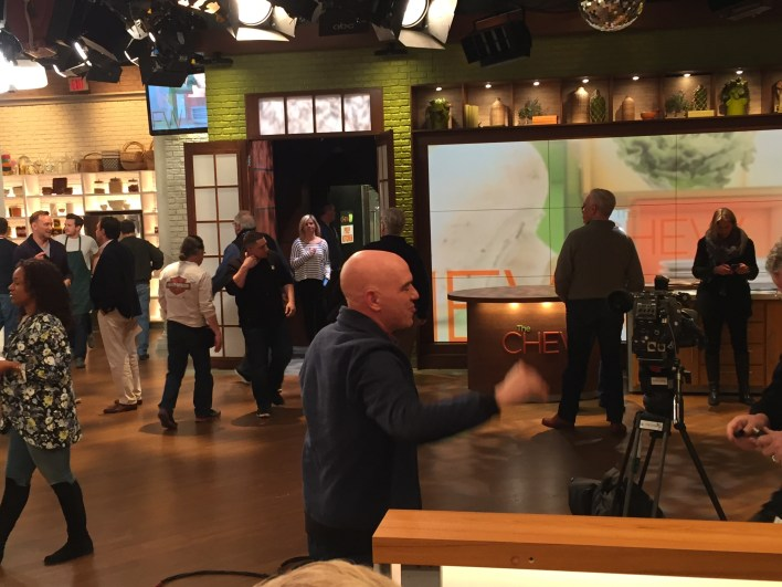 Michael Symon on the set of The Chew
