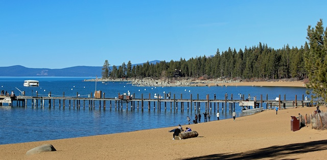 """Lake Tahoe at Zephyr Cove Pier. Tahoe's water elevation on January 20 stands 7"""" below its rim so no water can flow into the Truckee River from the Lake."""