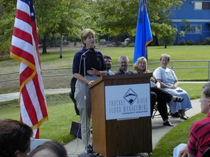 Truckee Meadows Flood Management Community Coalition Plan finalization with dignitary, Gail Norton, Secretary of the Interior in 2003.  The Flood Project has been substantially changed and never built but restoration of 4 downstream Truckee River have been completed.