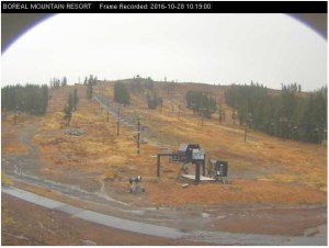 Boreal Ridge Ski webcam screen capture on morning of 10/28/16