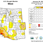 Drought Monitor map for the Western US last week of January 2017