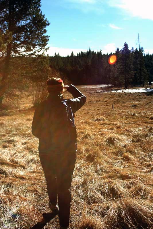Kaitlin Backlund leads the way, at Sagehen Creek Field Station. Feb 5, 2015.