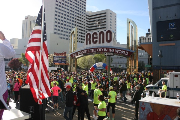 A crowd gathers in downtown Reno on Sunday morning for the Downtown River Run. April 12, 2015.