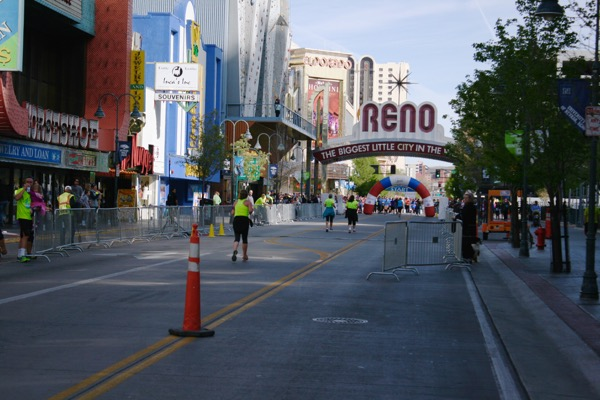 Sunday's Downtown River Run started and finished under the Reno Arch. April 12, 2015.