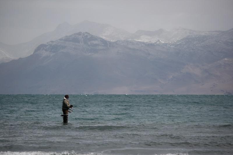 A fisherman at Pyramid Lake, April 13, 2015.