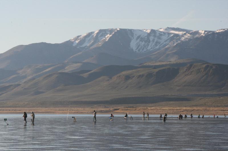 Fishermen at Pyramid Lake, March 23, 2016.