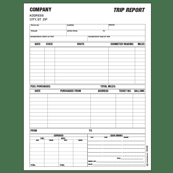trip cost report envelope free
