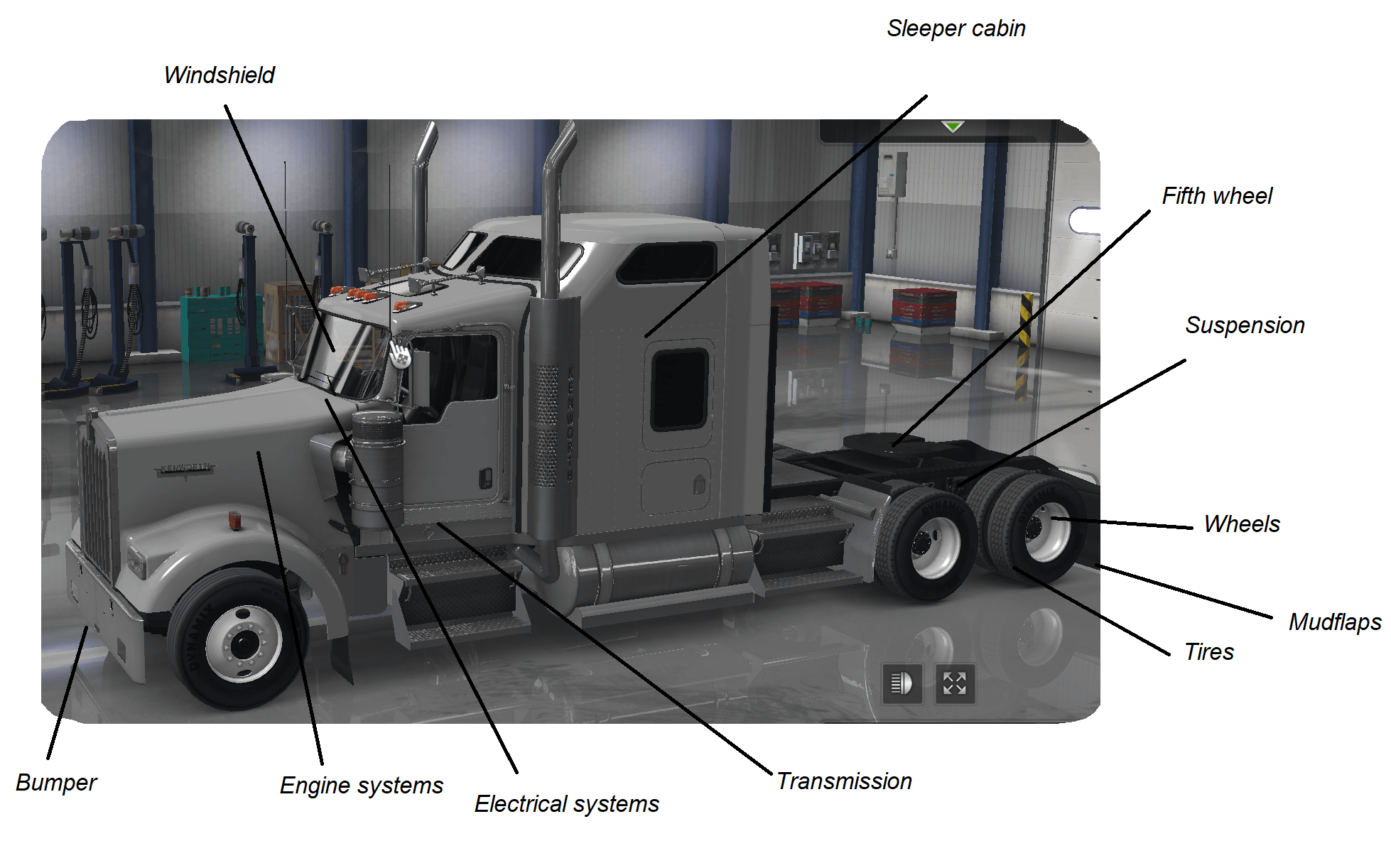 hight resolution of parts of a semi truck diagram