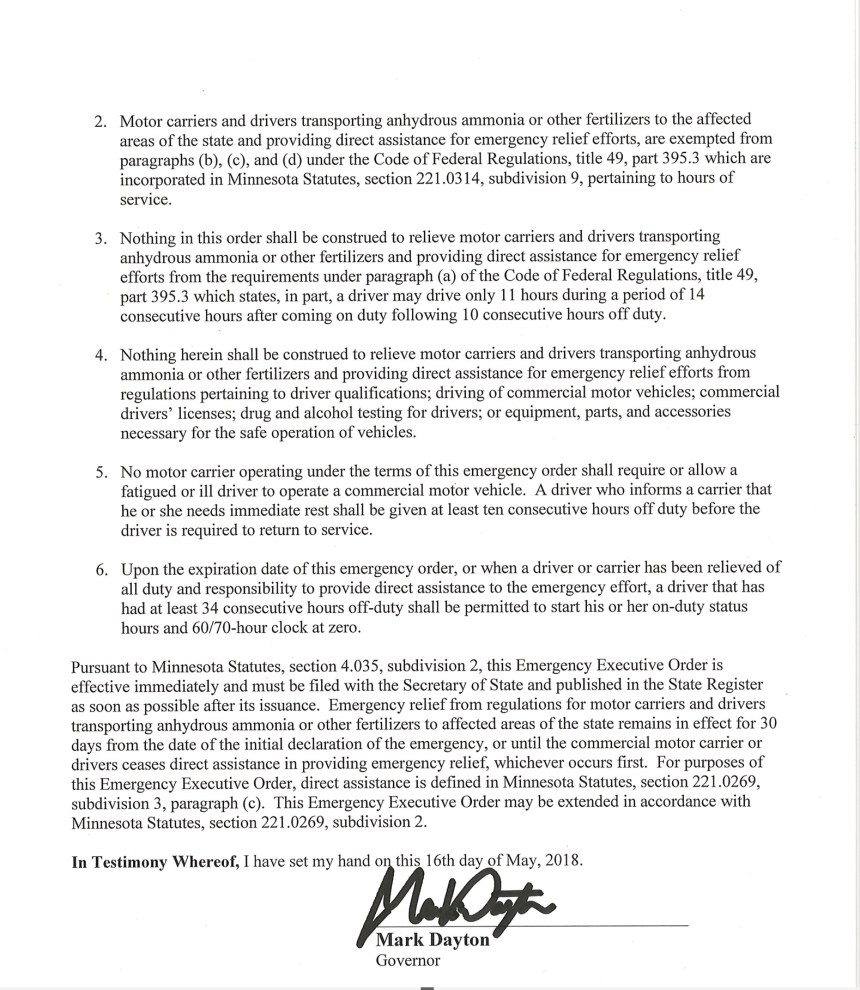 MN Executive Order TruckingNewsNow
