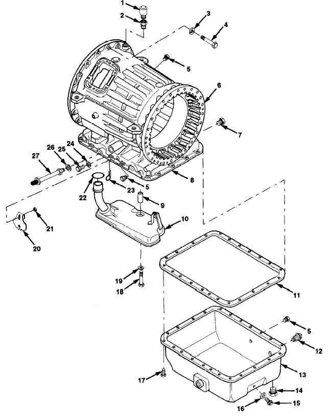 Figure 101. Transmission Housing, Oil Filter, and Oil Pan