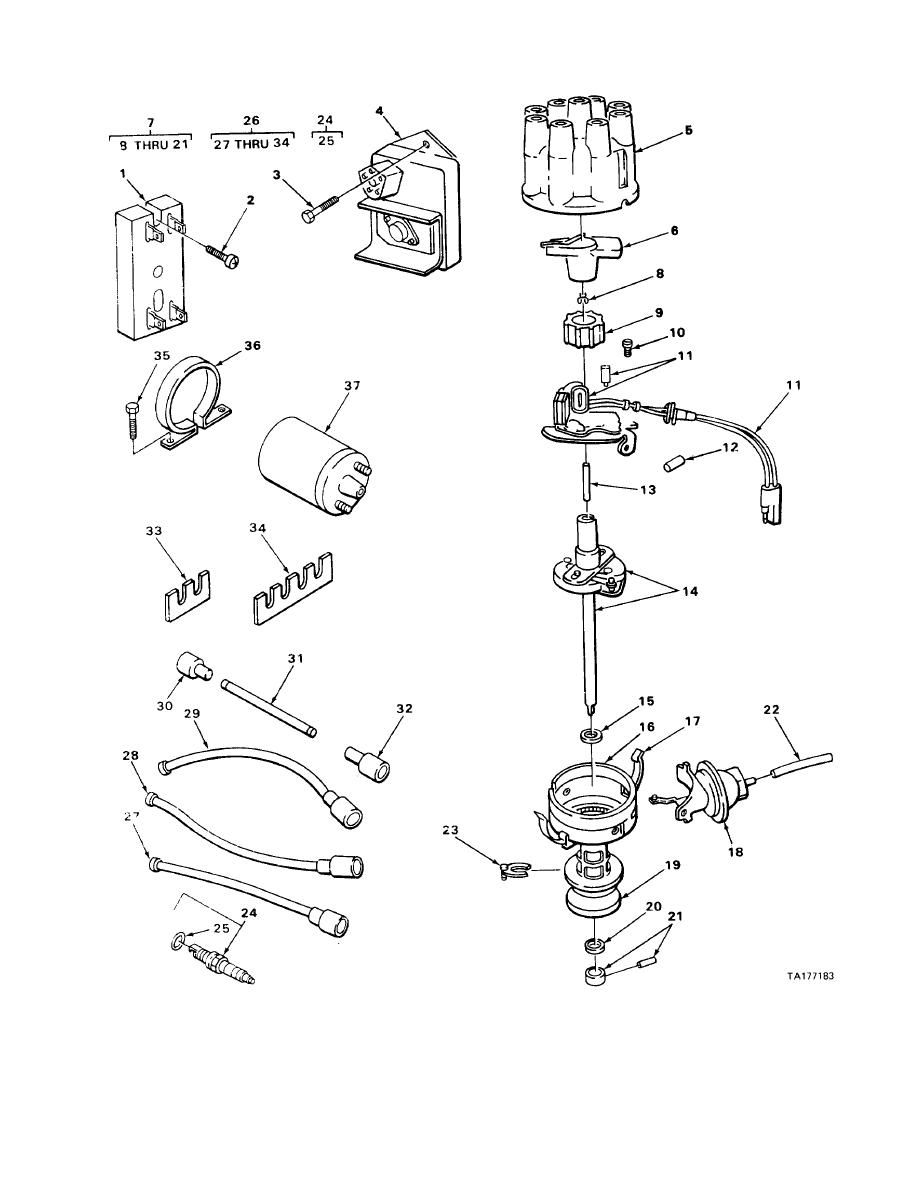 FIGURE 25. DISTRIBUTOR, SPARK PLUGS, IGNITION, WIRING