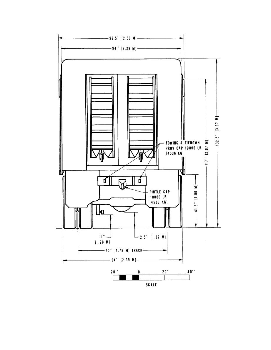 Figure 2-30. Rear elevation, truck, van, expansible, M292A2.
