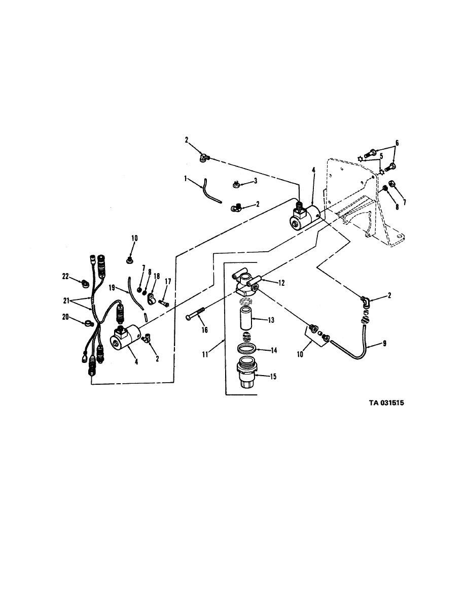 Figure 37. Flame heater, fuel filter, solenoid, wiring