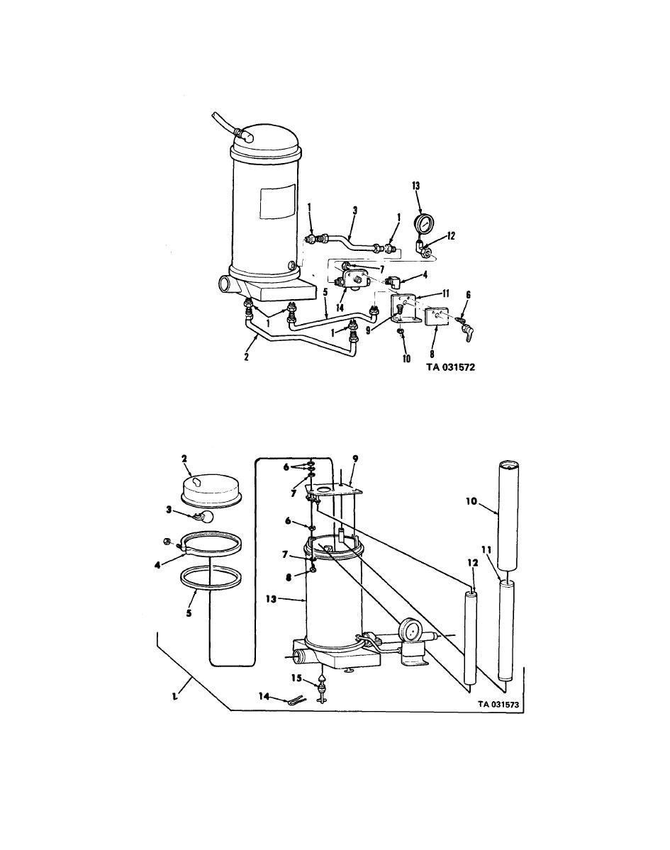 Figure 176. Segregator element test valve, gage and lines.