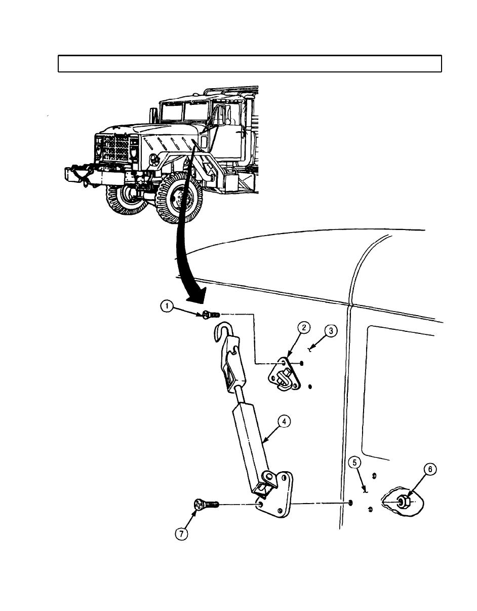 HOOD LATCH AND BRACKET REPLACEMENT (Contd)