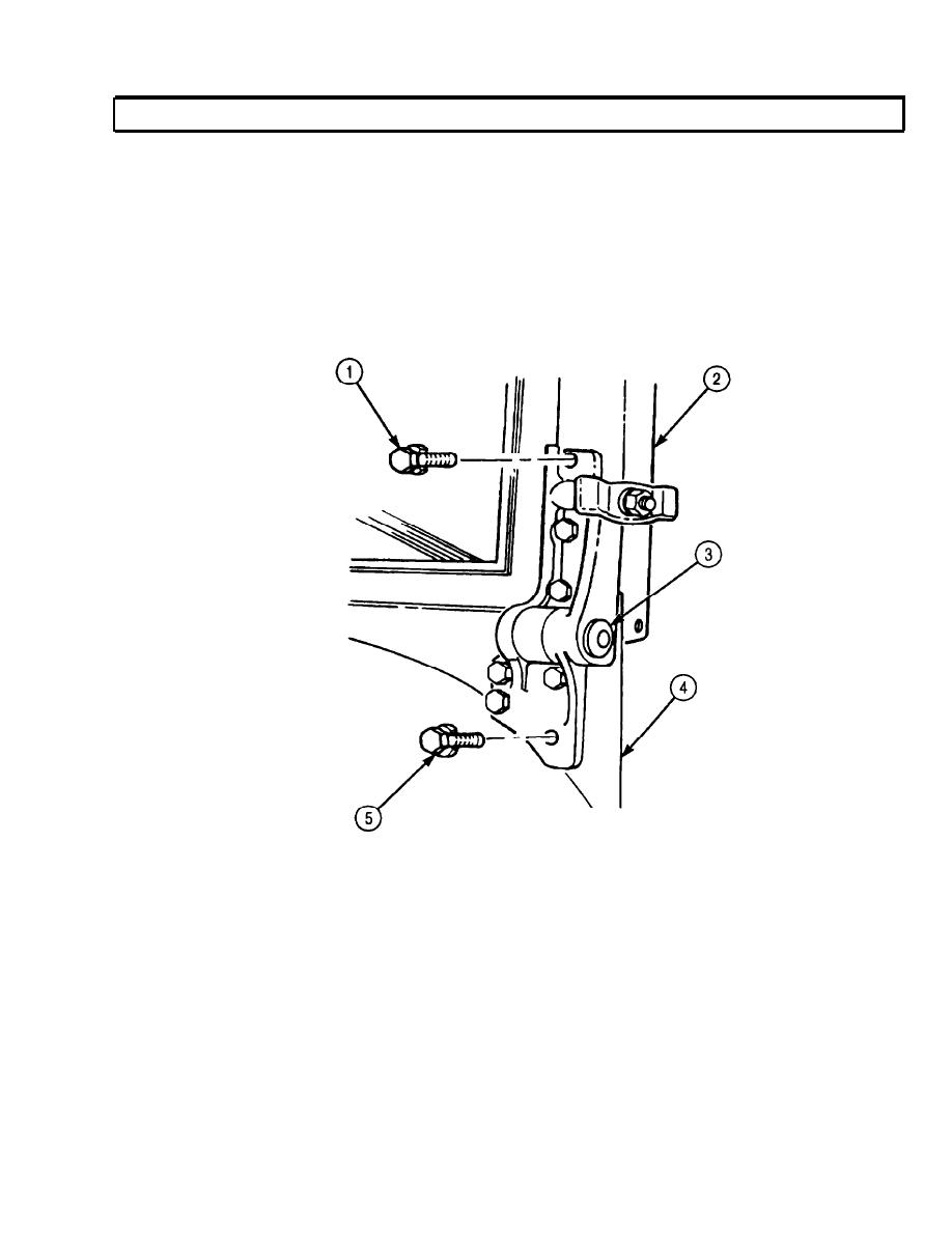 CAB WINDSHIELD HINGE ASSEMBLY REPLACEMENT (Contd)