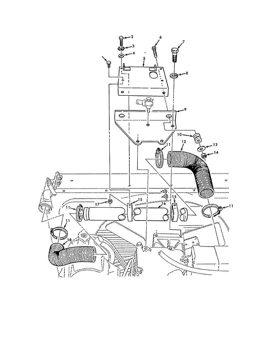 Figure 105. Upper Radiator Mounting Hardware and Hoses