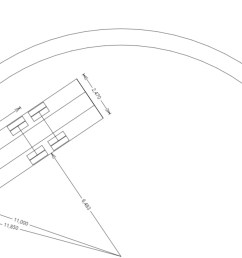 in the example pictured directly below the outer arc represents the wall to wall radius and the inner arc the curb to curb radius  [ 2736 x 1303 Pixel ]