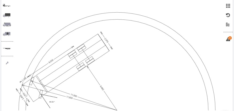 medium resolution of in the example pictured directly below the outer arc represents the wall to wall radius and the inner arc the curb to curb radius