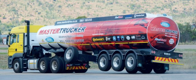 Truck trailer of balance. Specialised defensive driving, required for South African Guild of Motoring Journalists