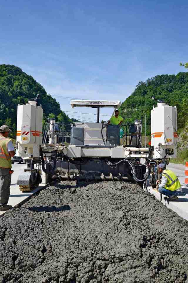 Inset paving on Kentucky Route 80 (KY 80) using Wirtgen SP 25i