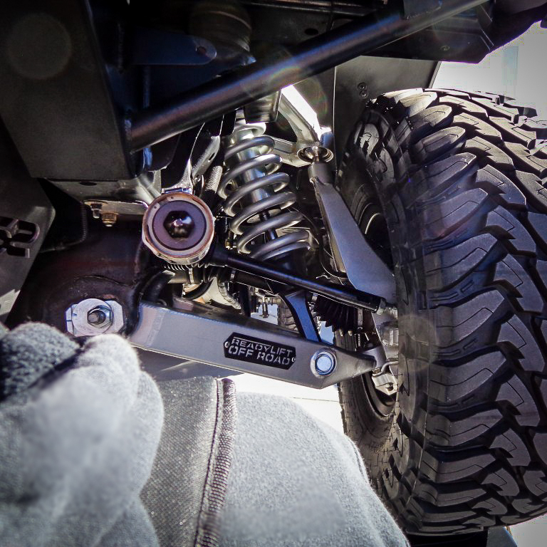Close-up on vehicle's suspension