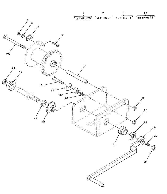 FIGURE 228. SPARE TIRE HOIST ASSEMBLY, EXPLODED VIEW