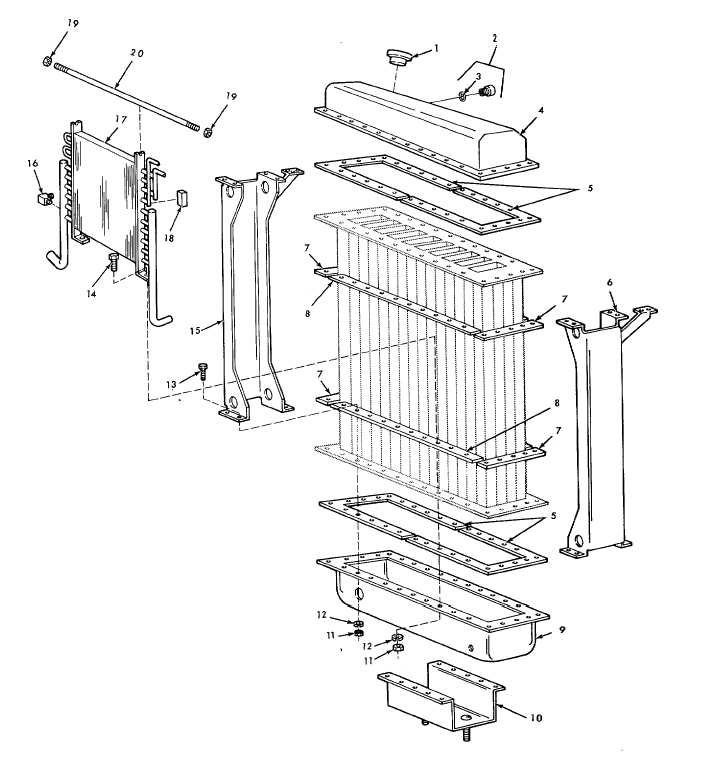 FIGURE 23. RADIATOR ASSEMBLY-EXPLODED VIEW.